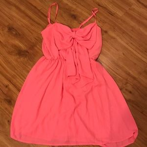 Pink bow mini dress